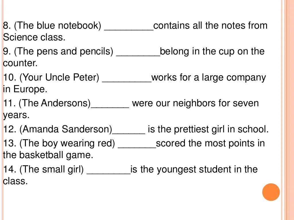 Subject And Object Pronouns Exercises