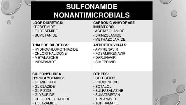 Image Result For Sulfa Allergy Cross Reactivity