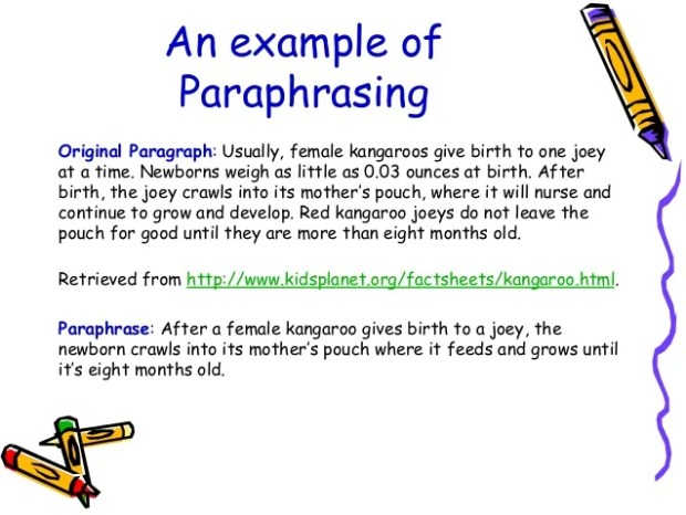 An example of shortening using paraphrasing