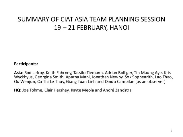 Summary actions ciat asia planning