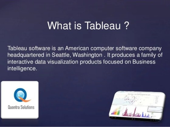 Tableau data visualization tool training by quontra solutions Tableau