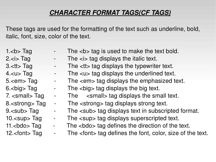 Tags in html