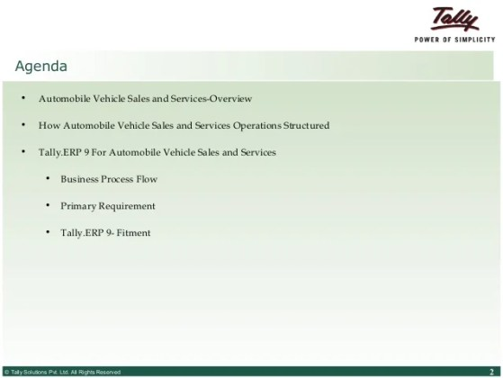 Tally ERP 9 for automobile vehicle sales and service