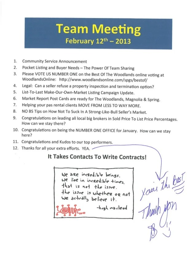 Team Meeting Agenda Notes | Better Homes And Gardens Real ...