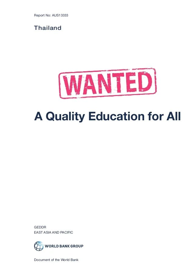 Thailand Wanted A Quality Education for All Report 2016