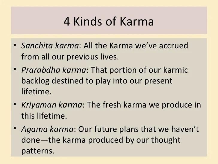 kinds of karma sanchita karma all the karma we