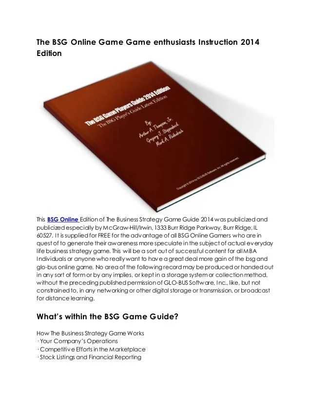The bsg online game game enthusiasts instruction 2014