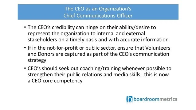 The CEO as an Organization's Chief Communications Officer