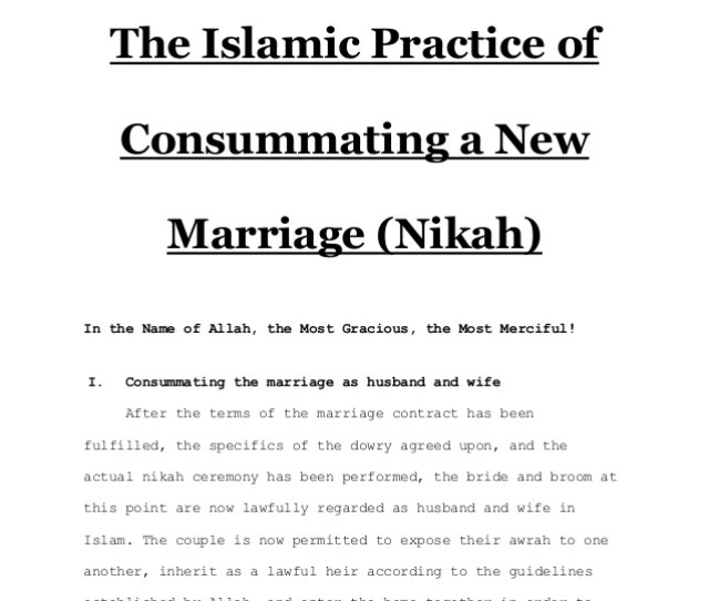 The Islamic Practice Of Consummating A New Marriage Nikah Www Scmuslim Com