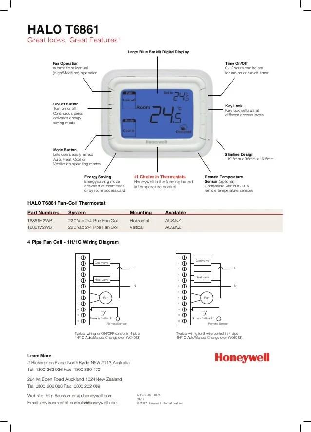 Catalog Thermostat Honeywell Halo T6861
