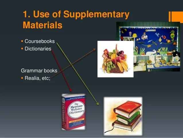 The selection and use of supplementary materials and