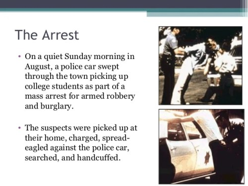The Arrest • On a quiet Sunday morning in August, a police car swept through the town picking up college students as part ...
