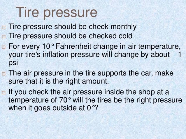 What Should Tire Pressure Be Car