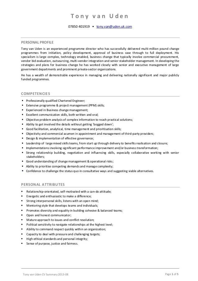 Tony Van Uden Cv Summary 2013 08