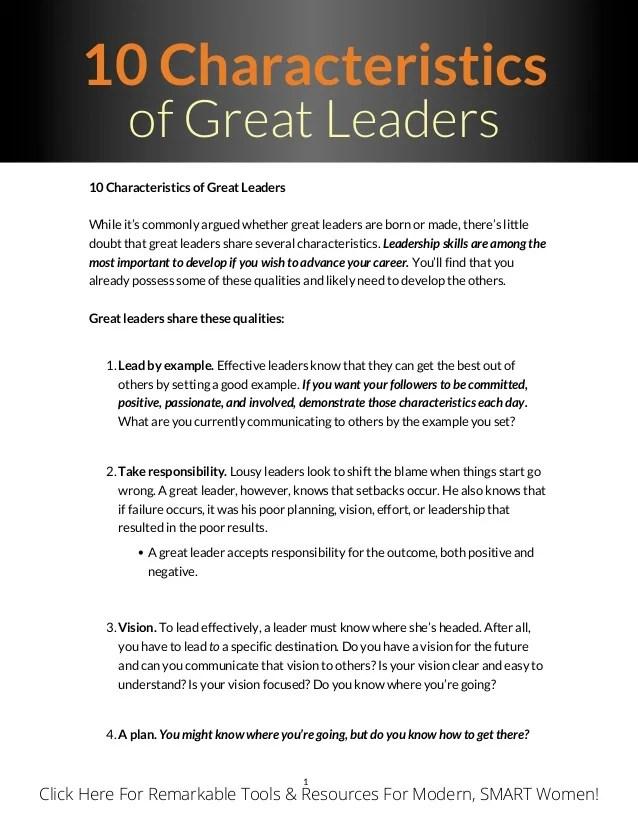Leadership qualities pdf