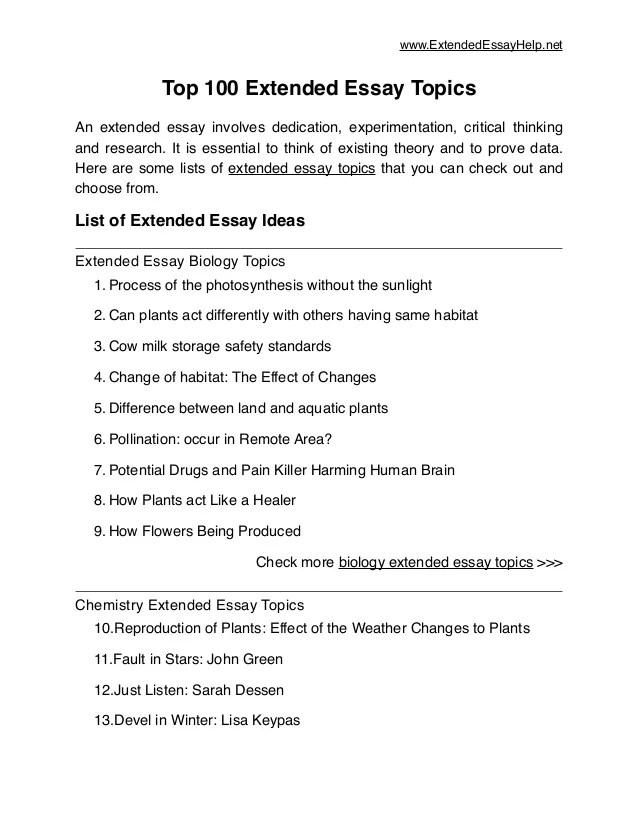 ib extended essay dance topics