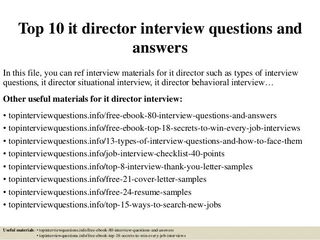 Top 10 It Director Interview Questions And Answers