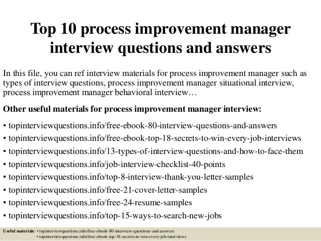 Top 10 process improvement manager interview questions and ...