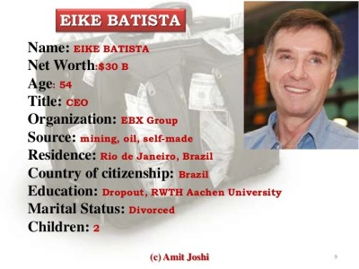 EIKE BATISTAName: EIKE BATISTANet Worth:$30 BAge: 54Title: CEOOrganization: EBX GroupSource: mining, oil, self-madeResiden...