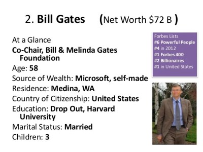 2. Bill Gates (Net Worth $72 B ) At a Glance Co-Chair, Bill & Melinda Gates Foundation Age: 58 Source of Wealth: Microso...