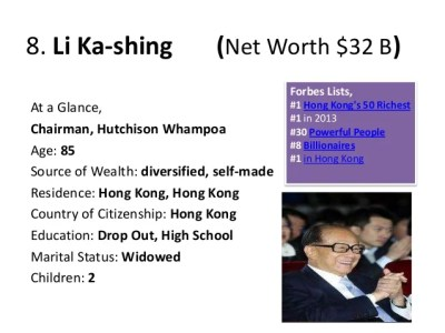 8. Li Ka-shing (Net Worth $32 B) Forbes Lists, At a Glance, Chairman, Hutchison Whampoa Age: 85 Source of Wealth: divers...