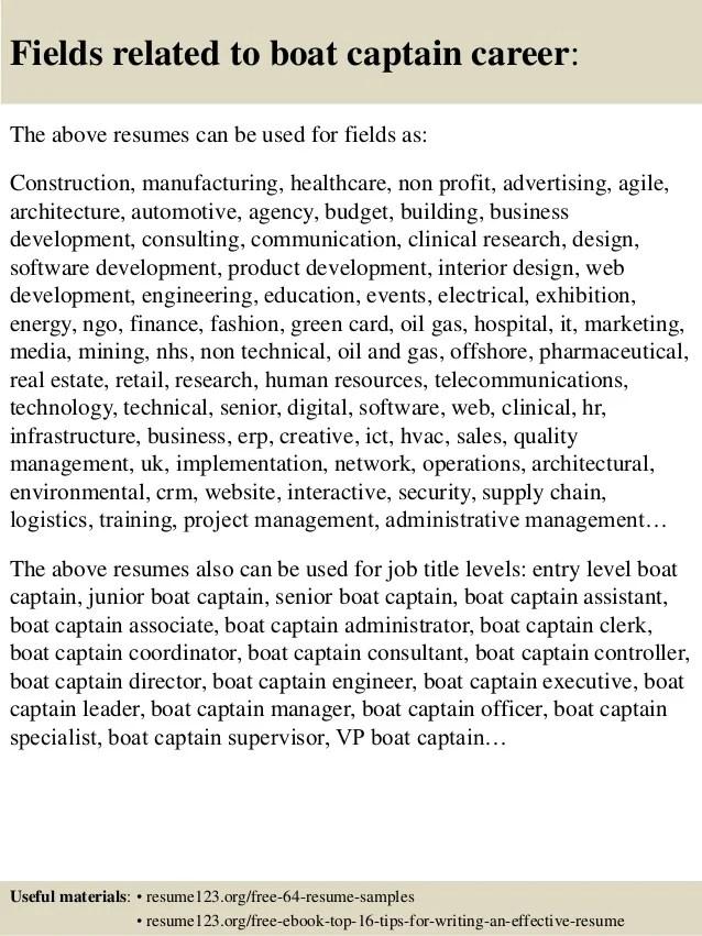 Top 8 Boat Captain Resume Samples
