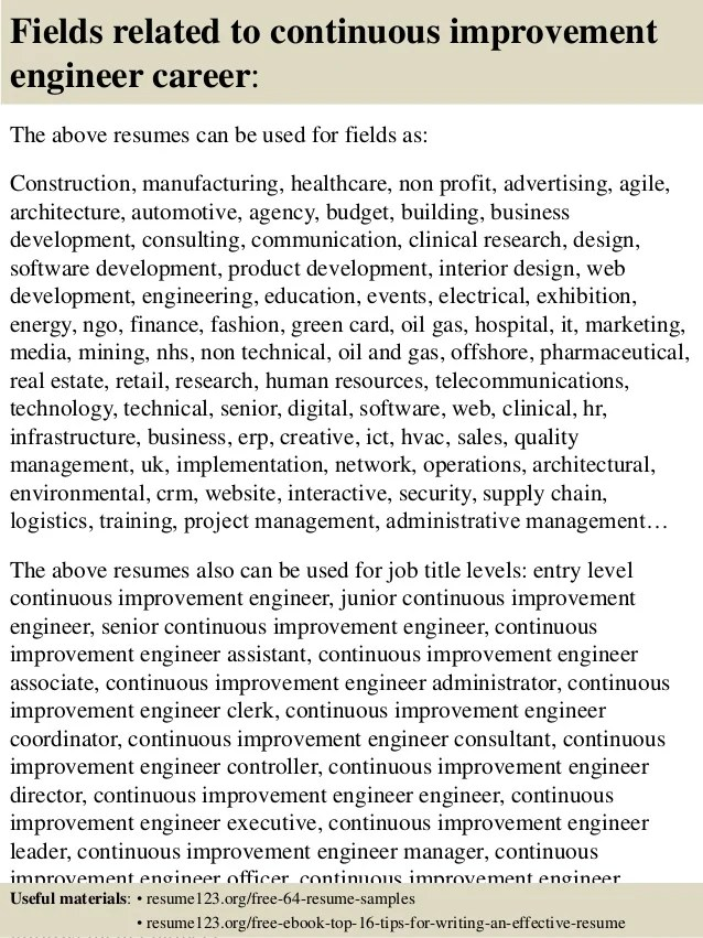 Top 8 Continuous Improvement Engineer Resume Samples