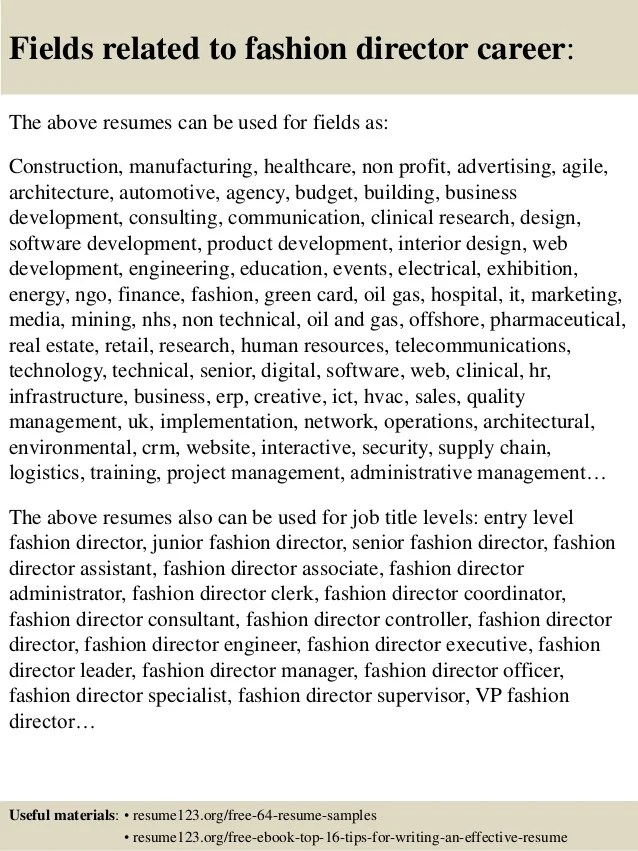 Top 8 Fashion Director Resume Samples