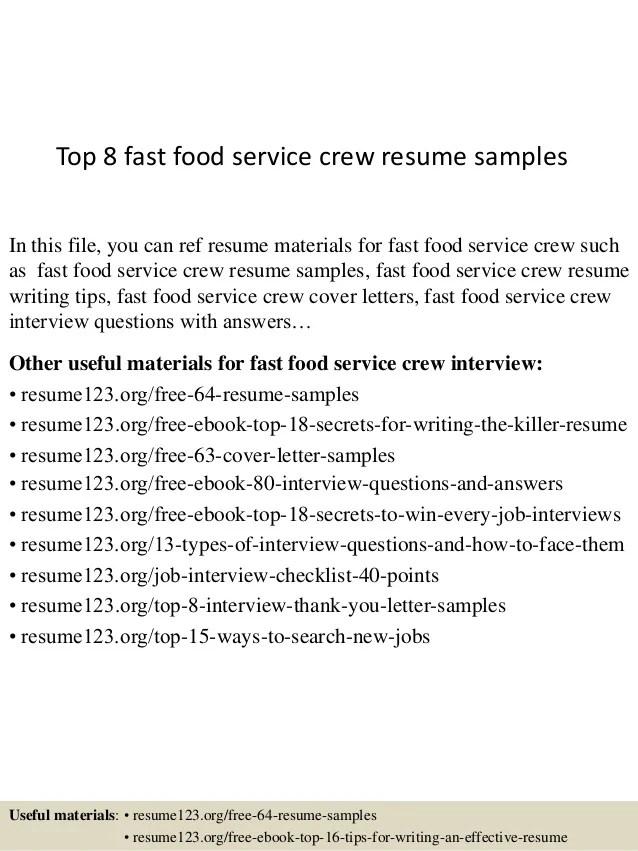 Top 8 Fast Food Service Crew Resume Samples