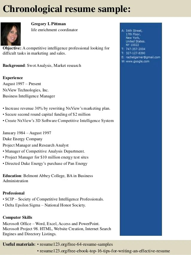 Top 8 Life Enrichment Coordinator Resume Samples