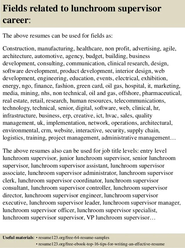 Top 8 Lunchroom Supervisor Resume Samples