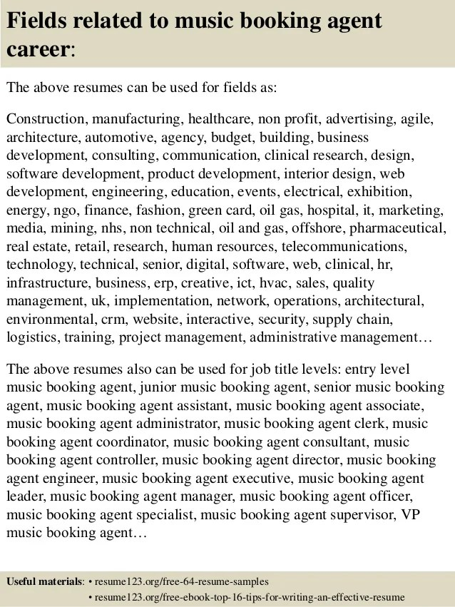 Top 8 Music Booking Agent Resume Samples