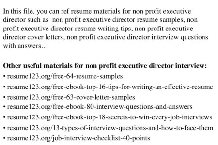 Free Resume Cover Letter » non executive directors resume sales ...