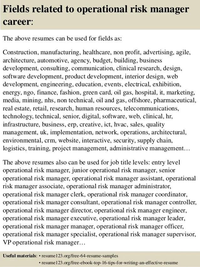 Top 8 Operational Risk Manager Resume Samples