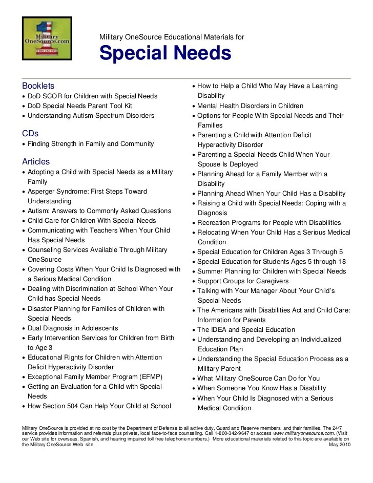 MOS topical list special needs resources