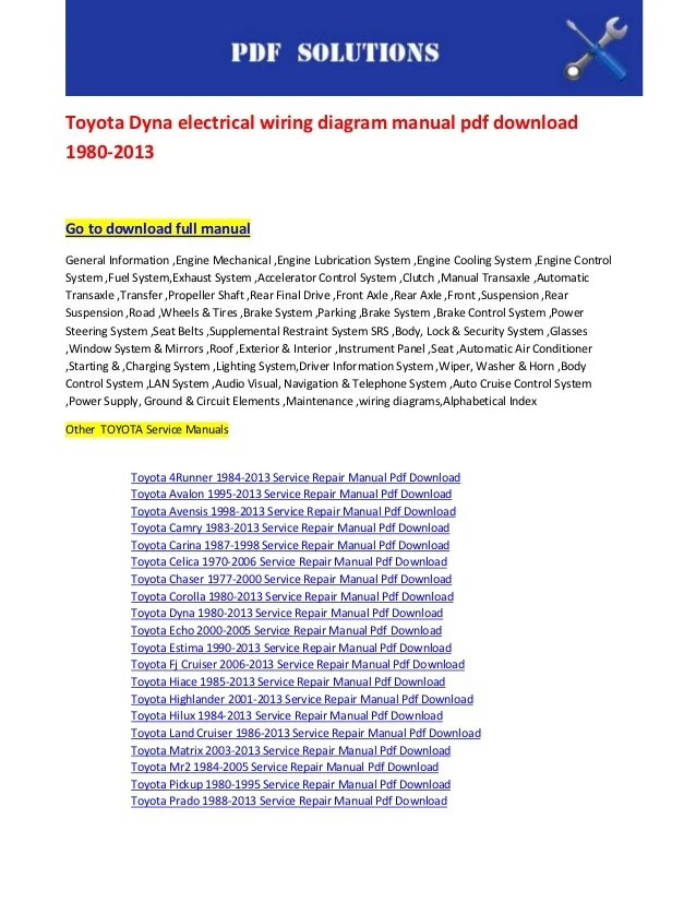 toyota dyna electrical wiring diagram manual pdf download