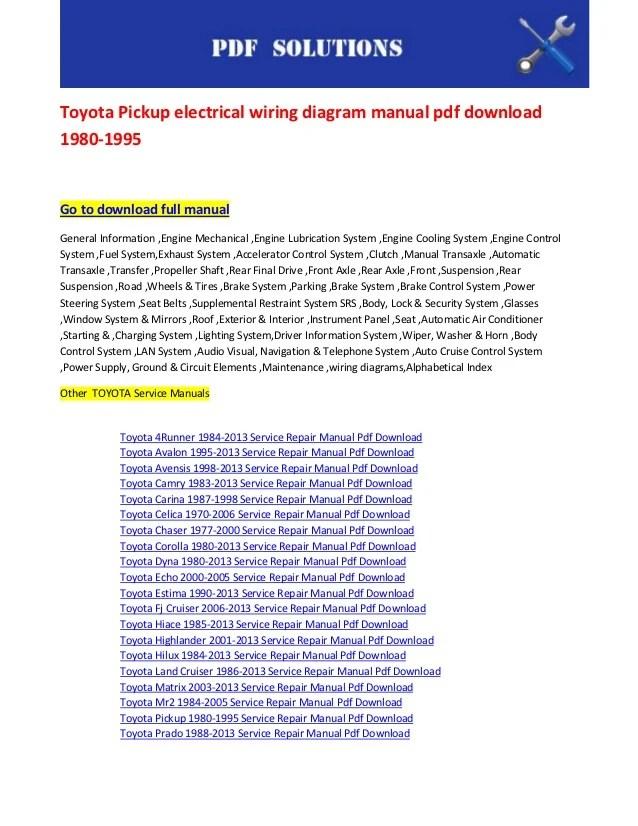 toyota pickup electrical wiring diagram manual pdf download