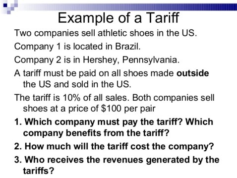 Image result for tariff examples