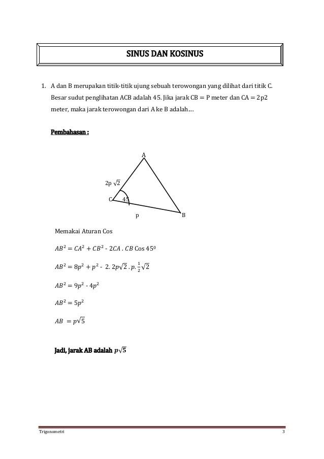 0.1 materi lengkap trigonometri dengan fungsi , rumus dan pembahasan contoh soal; Contoh Soal Hots Trigonometri Lektur