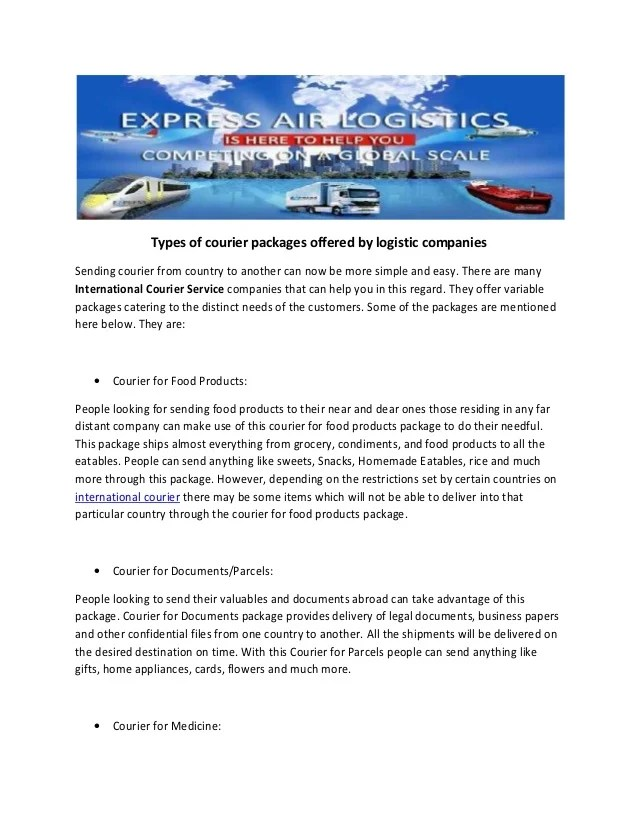 Types of courier packages offered by logistic companies