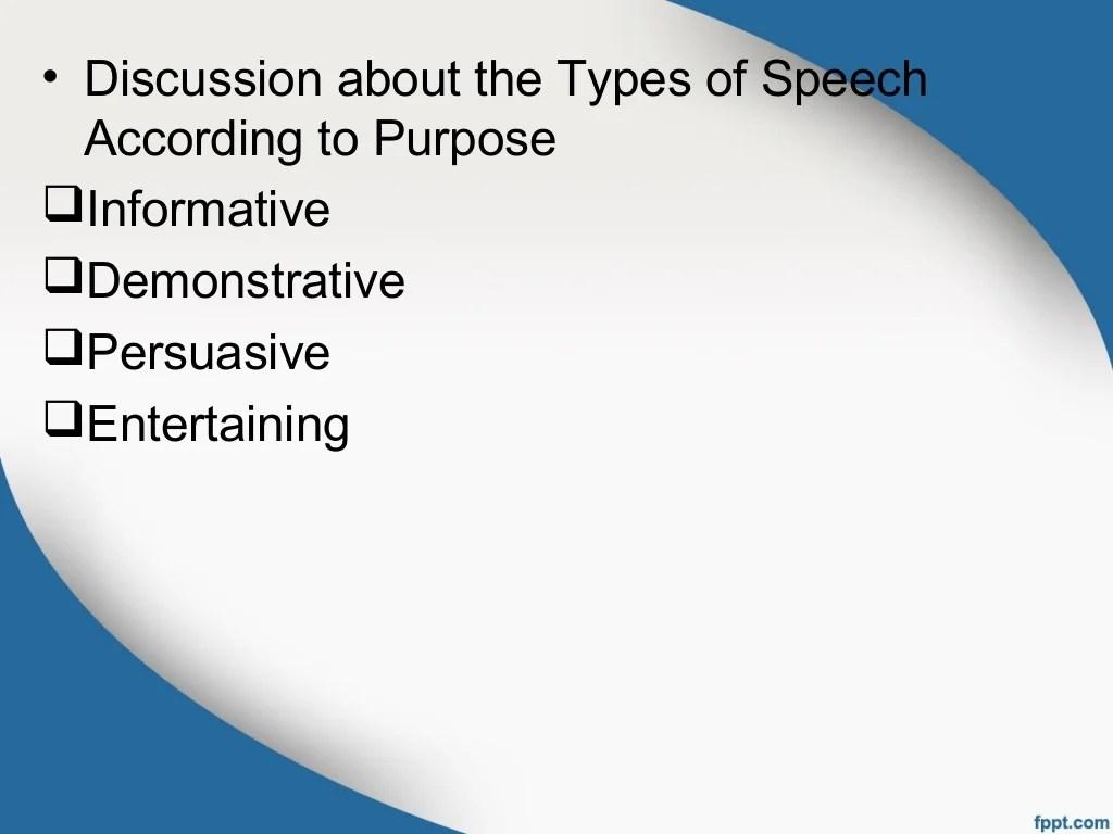 Types Of Speech According To Purpose