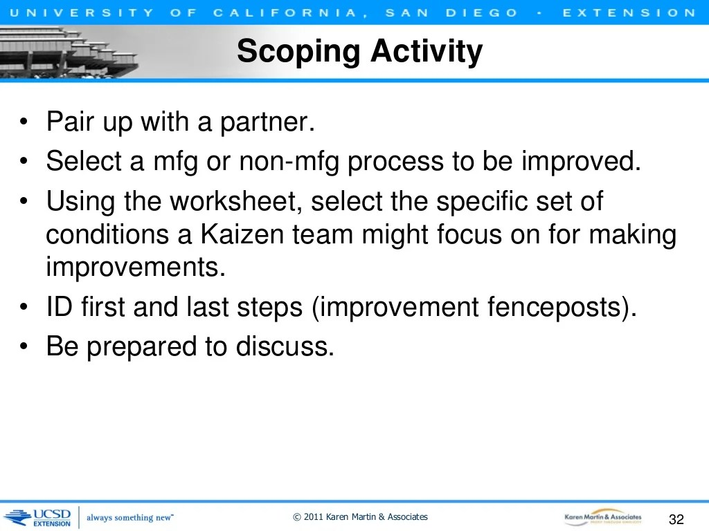Kaizen Event Scoping Activity Worksheet