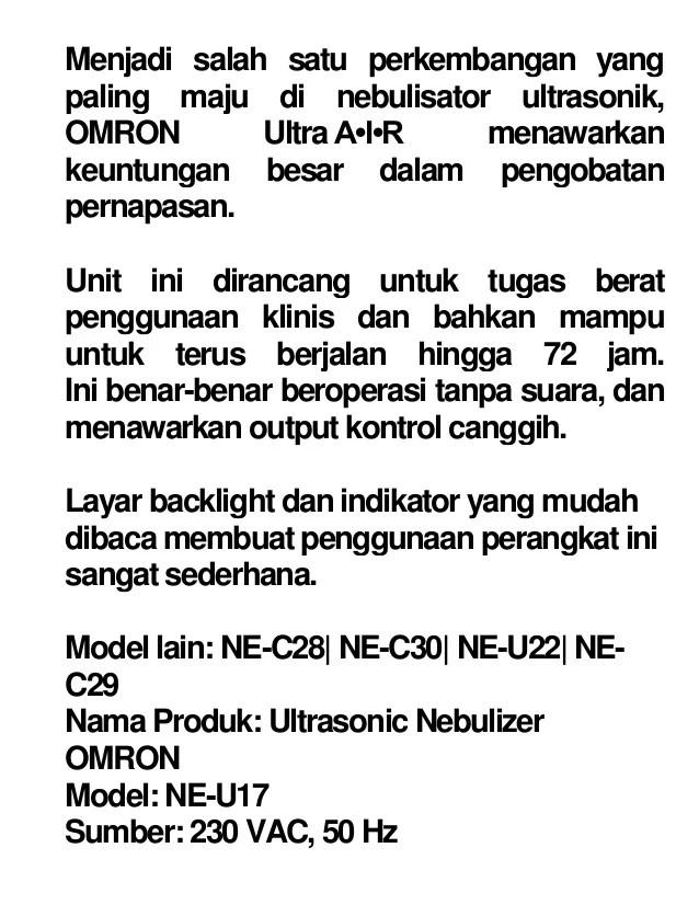 Omron Ultrasonic Nebulizer Ne U17