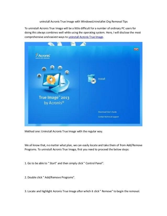 uninstall Acronis True Image with WindowsUninstaller.Org ...