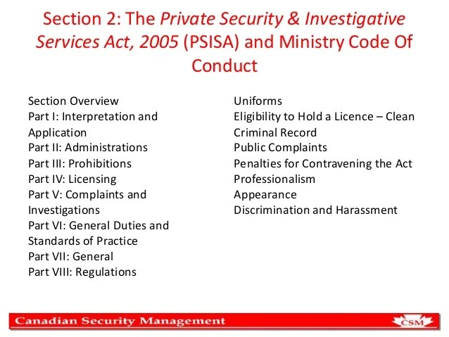 Private Security Act