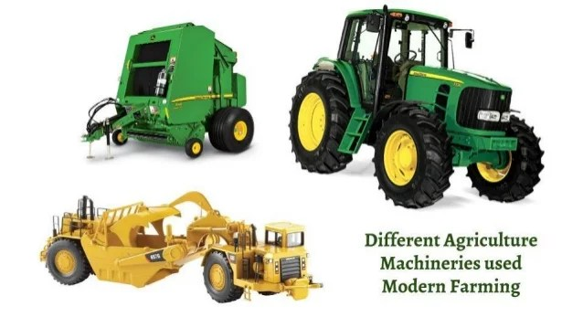 Different agriculture machineries used modern farming