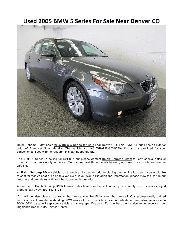 Used 2005 BMW 5 Series For Sale Near Denver CO