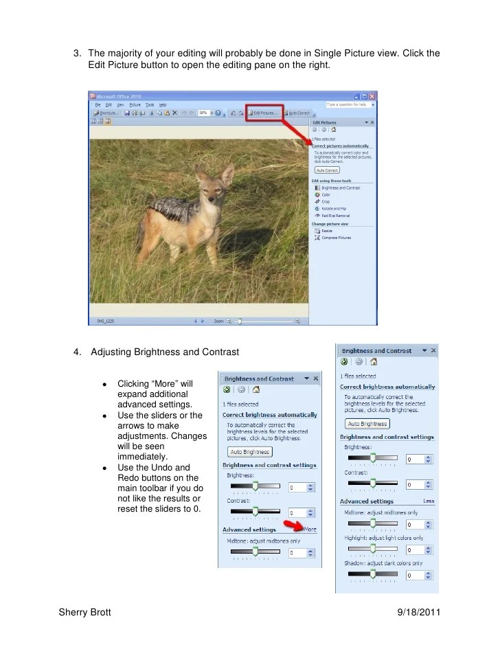 Using microsoft office 2010 image editor