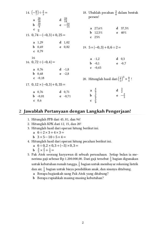 Soal Uts Matematika Kelas 7 Semester 2 Dan Kunci Jawaban Soal Uts Matematika Kelas 6 Semester 2 Plus Kunci Jawaban Matematika Soal No 1 Sampai 4 Merupakan Contoh Soal Muatan