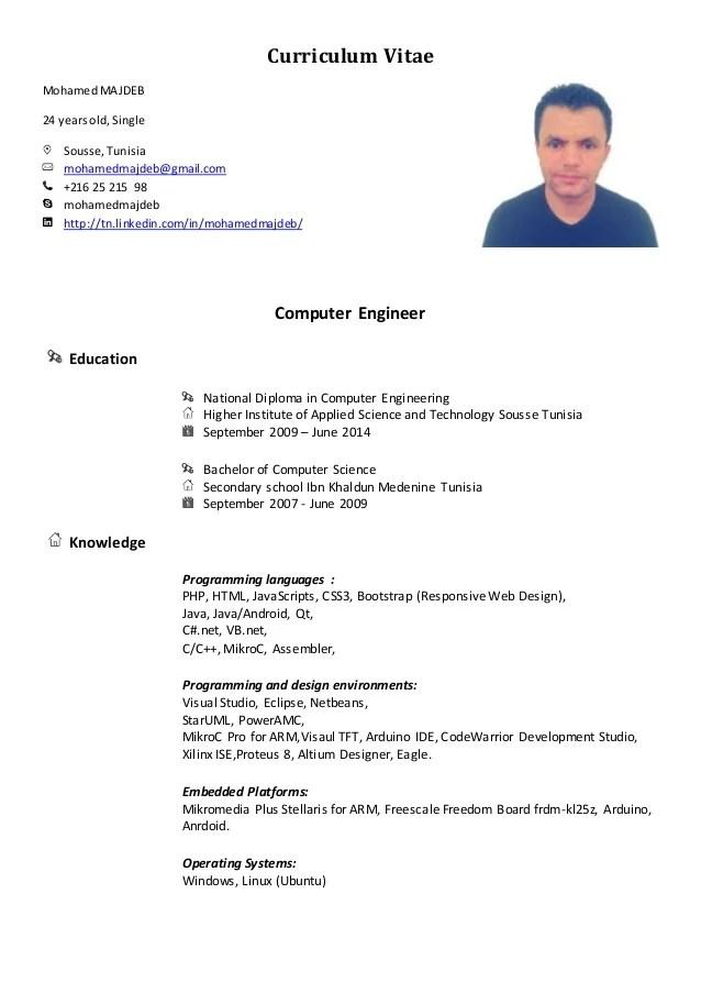 Mohamed Majeb Cv Ingnieur Informatique Melange